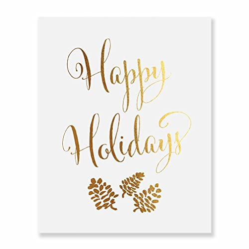 photo about Happy Holidays Printable Card named : Satisfied Vacations Gold Foil Print Script Poster
