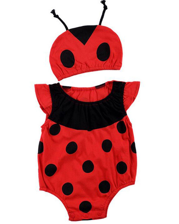 Kidsform Baby Unisex Bodysuit Animal Costume for Boys Girls Cartoon Short Sleeve Onesie with Hat Ladybug 3-6M
