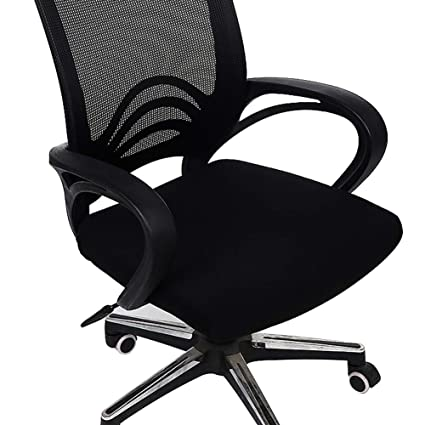 Homaxy Premium Jacquard Office Computer Chair Seat Cover Spandex Stretch Desk Chair Seat Cushion Covers Durable Protectors Black Slipcover