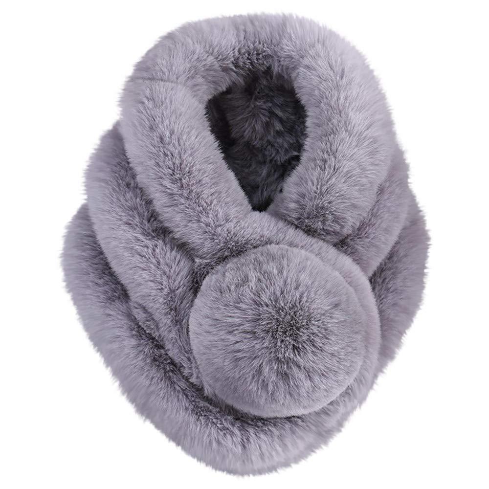 Women Winter Warm Scarf Fashion Thicken Fur Imitation Fur Grass Scarves (Gray,Free Size)
