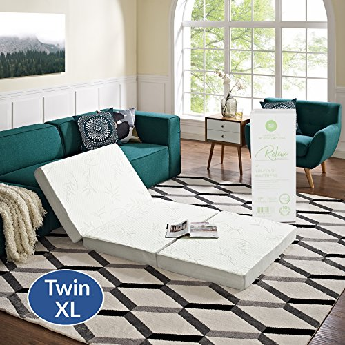 """Bottom Layer Double - Modway 4"""" Relax Twin XL Tri-Fold Mattress CertiPUR-US Certified with Soft Removable Cover and Non-Slip Bottom (39"""