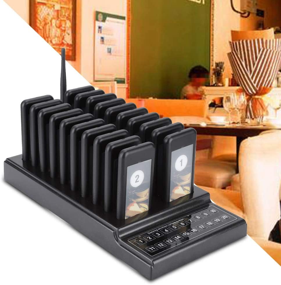 UK Wireless Paging System,VBESTLIFECalling System for Guest Call Paging Ange Queue with 20 for places where there are many guests waiting for service.