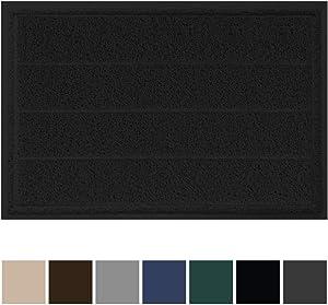 Gorilla Grip Original Durable Indoor Door Mat, 35x23, Large Size, Heavy Duty Doormats, Commercial Waterproof Stripe Doormat, Easy Clean, Low-Profile Mats for Entry, Garage, High Traffic Areas, Black