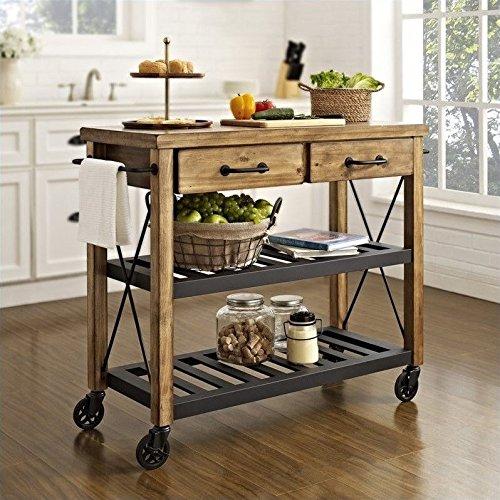 Crosley Roots Rack Industrial Kitchen Cart, Natural