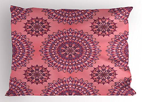 (Ambesonne Purple Mandala Pillow Sham, Ancient Filigree Art Inspired Ethnic Bohemian Kitsch Oriental Display, Decorative Standard Size Printed Pillowcase, 26 X 20 inches, Coral Fuchsia)