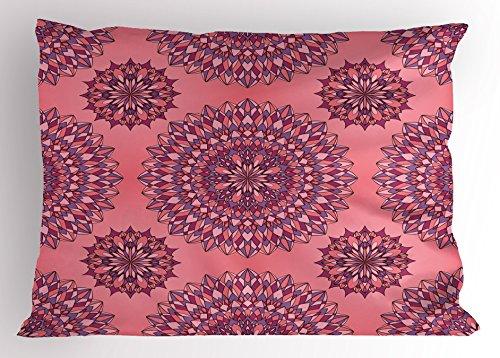 (Ambesonne Purple Mandala Pillow Sham, Filigree Artwork Inspired Bohemian and Oriental Display, Decorative Standard Size Printed Pillowcase, 26
