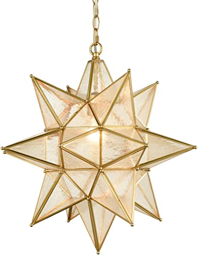 AXILAND Seeded Glass Moravian Star Light Brass Pendant Chandelier Lighting 19 Inche