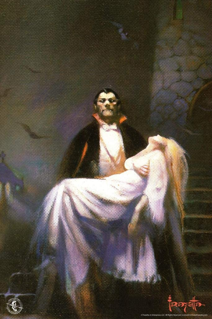 Frank Frazetta Draculas Bride Horror Fantasy Artwork Vampire Monster Classic Retro Vintage Movie Halloween Scary Spooky Laminated Dry Erase Wall Poster 12x18