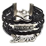 Amazon Price History for:ACUNION™ Handmade Puzzle Believe Best Friend Owl Love Sister Birds Blessing Faith Wings Leather Bracelet for Girl