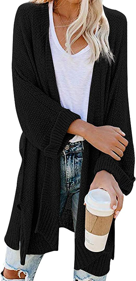 Women's Loose Open Front Sleeve Knit Kimono Cardigans Sweater