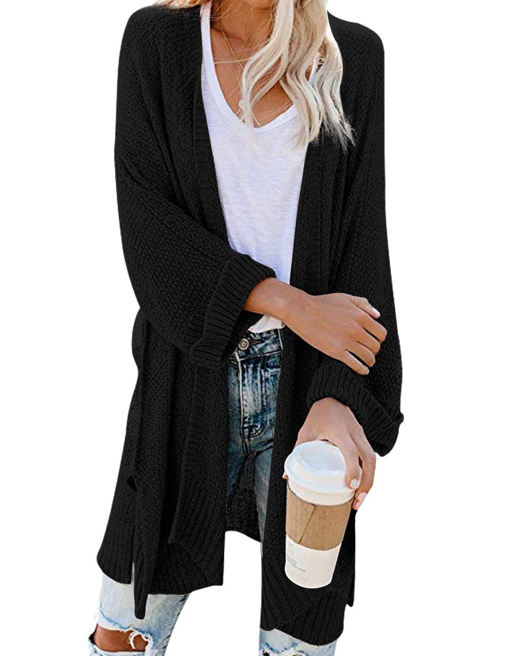CPOKRTWSO Women's Plus Size Open Front 3/4 Sleeve Boho Boyfriend Knit Chunky Knit Cardigans Sweater Black S/M by CPOKRTWSO
