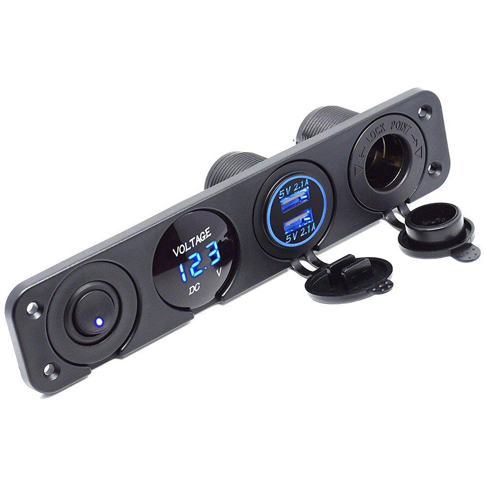 2.1/a presa voltmetro LED 12/V meipire Dual USB femmina Caricabatterie 2.1/a On Off Interruttore a levetta quattro funzioni Panel per Auto Barca Marine RV Truck Camper veicoli GPS ecc.