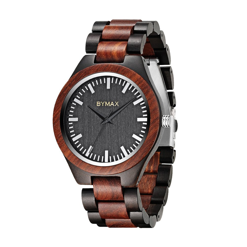 Bymax Men Wooden Watch Analog Quartz Lightweight Handmade Casual Sports Wood Wrist Watches