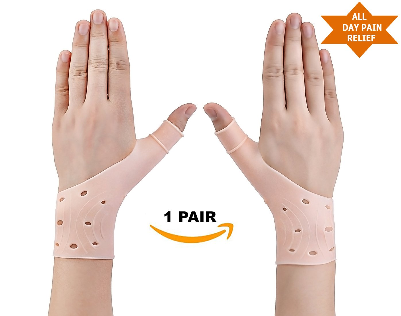 Zigora Gel Wrist Thumb Brace Support - Wrist & Thumb Stabilizer Gloves Braces, Fast Relief from Carpal Tunnel, Rheumatism, Tenosynovitis, Tendonitis & Typing Pain, (1 Pair) Breathable and Lightweight