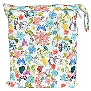Wet Dry Bag Baby Cloth Diaper Nappy Bag Reusable with Two Zippered Pockets (Bloom)