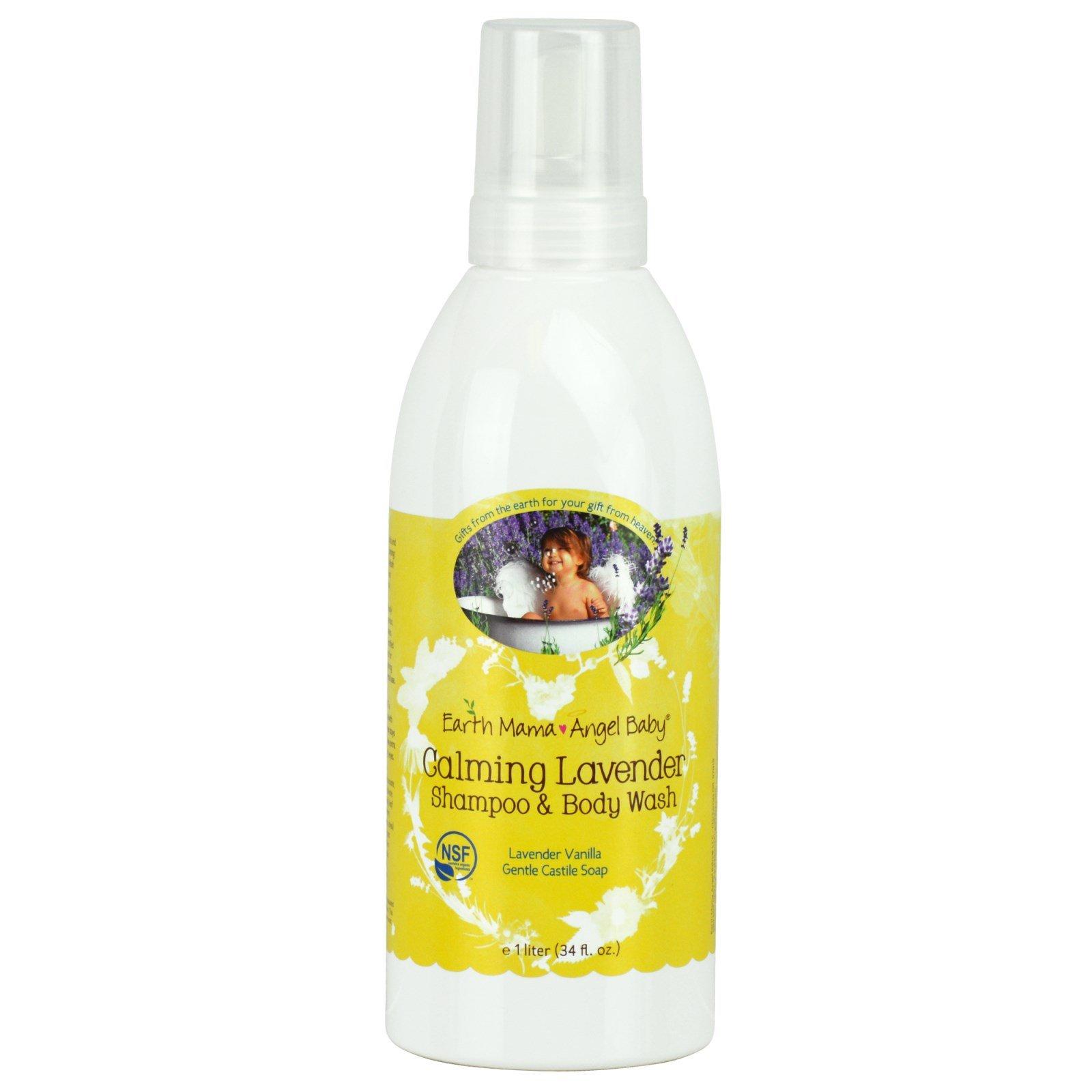 Earth Mama Angel Baby, Calming Lavender Shampoo & Body Wash, Lavender Vanilla, 34 fl oz (1 L) - 3PC