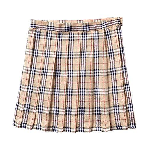 Green Plaid Girls Skirts (CHN'S Girls Women School Uniforms Dress Plaid Pleated Mini Skirt Bust Skirt)