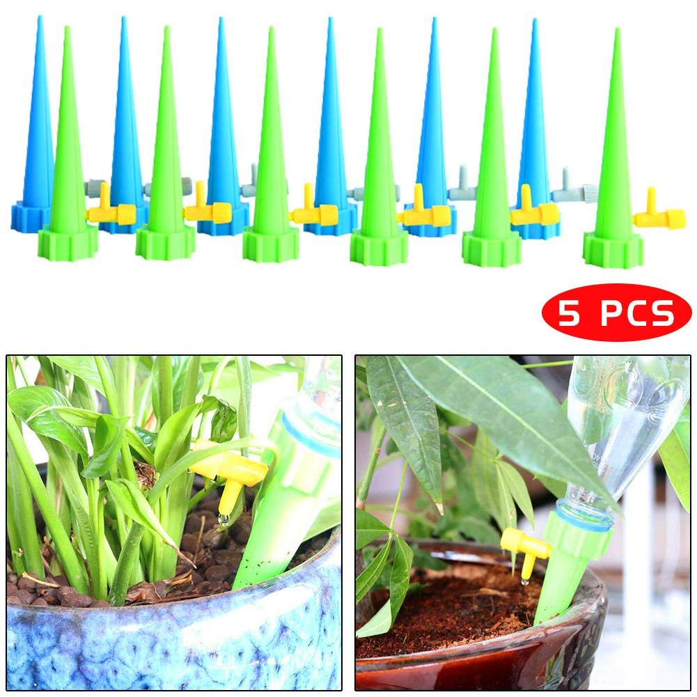 Lucky-all star 5PCS/Pack Self Watering Spikes Bonsai Automatic Watering Device With Adjustment Control Valve Planting Tools Automatic Plant Watering System