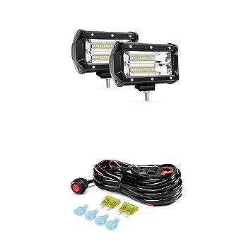 amazon com nilight led light bar 2pcs 5 3inch 72w double row 7200lm rh amazon com