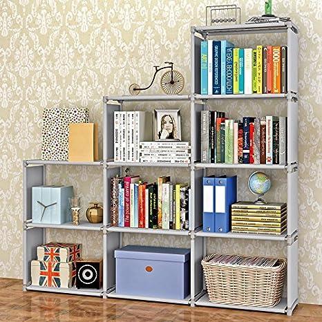 Jaketen Bookshelf 9 Cubes Book Shelf Office Storage Plastic Cabinet Grey