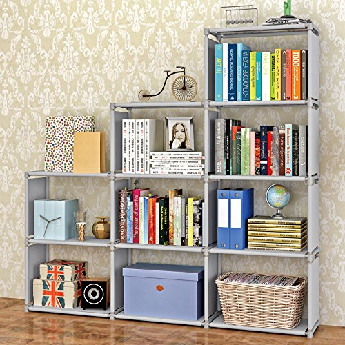 UPC 670731406800, Bookshelf 9-Cubes Book Shelf Office Storage Shelf Plastic Storage Cabinet (Grey)