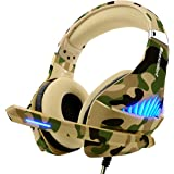 PS4 Xbox One Cuffie Gaming,3.5mm Jack Basso Stereo Cuffie da Gaming con Microfono LED e Controllo Volume Gaming Headset per PC Laptop Mac Tablet