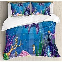 Turtle Duvet Cover Set by Ambesonne, Underwater World Cartoon Style Illustration Funny Fish Jellyfish Sea Horse, 3 Piece Bedding Set with Pillow Shams, King Size, Purple Orange Aqua
