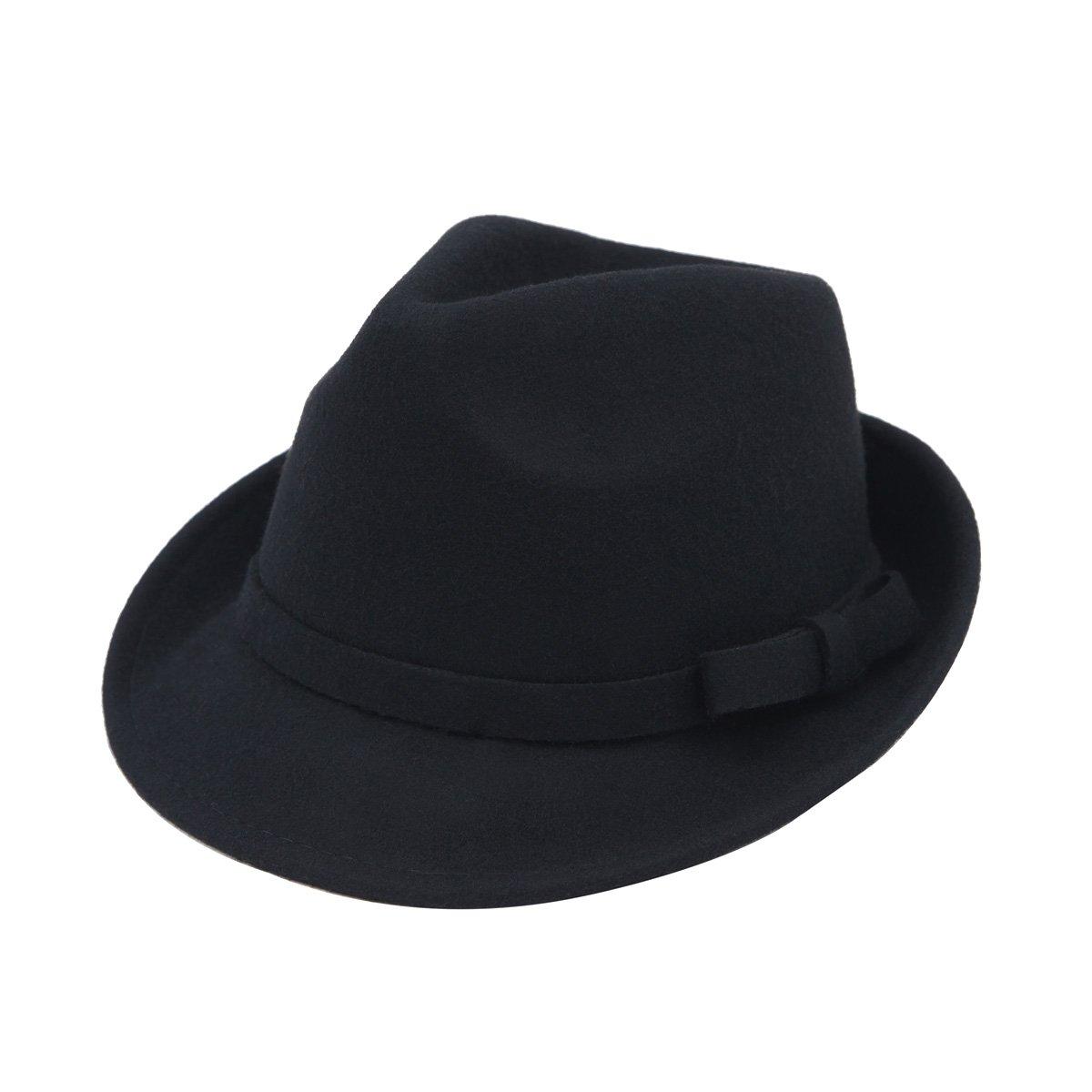 Women's Deluxe 100% Wool Solid Color Fedora Hat, Black
