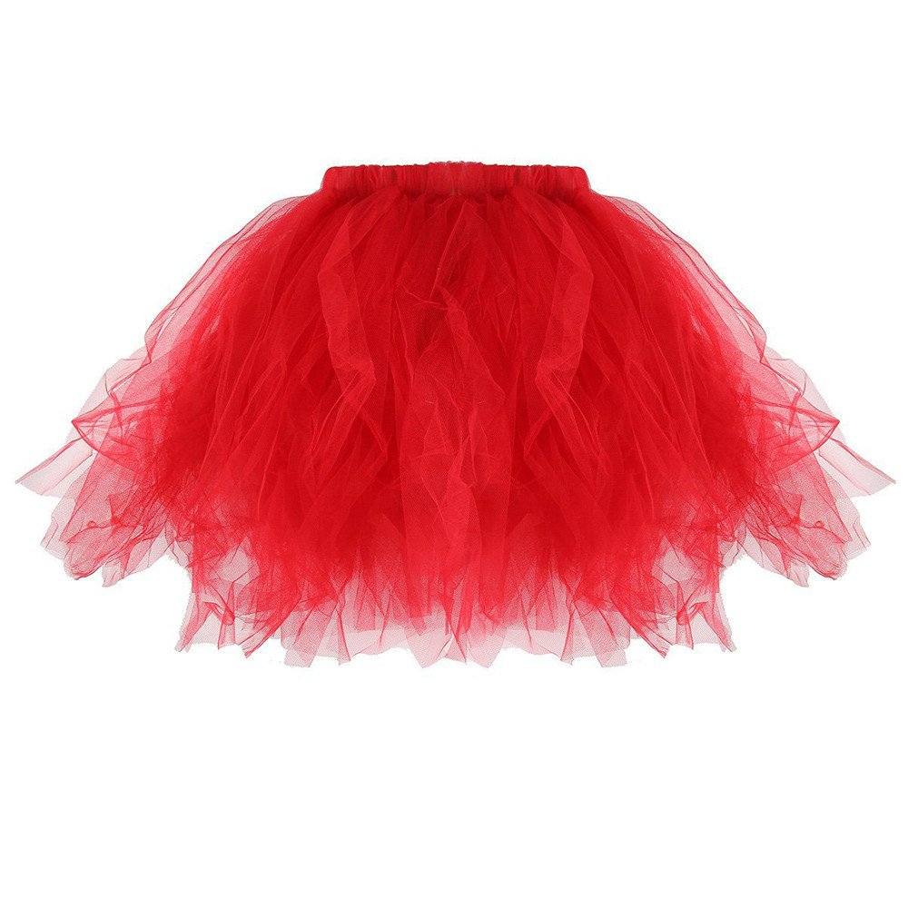Womens Fashion Pleated Tutu Adult Mini Solid Trendy Tulle Summer Skirt Ball Party School Prom (Red, Free Size)