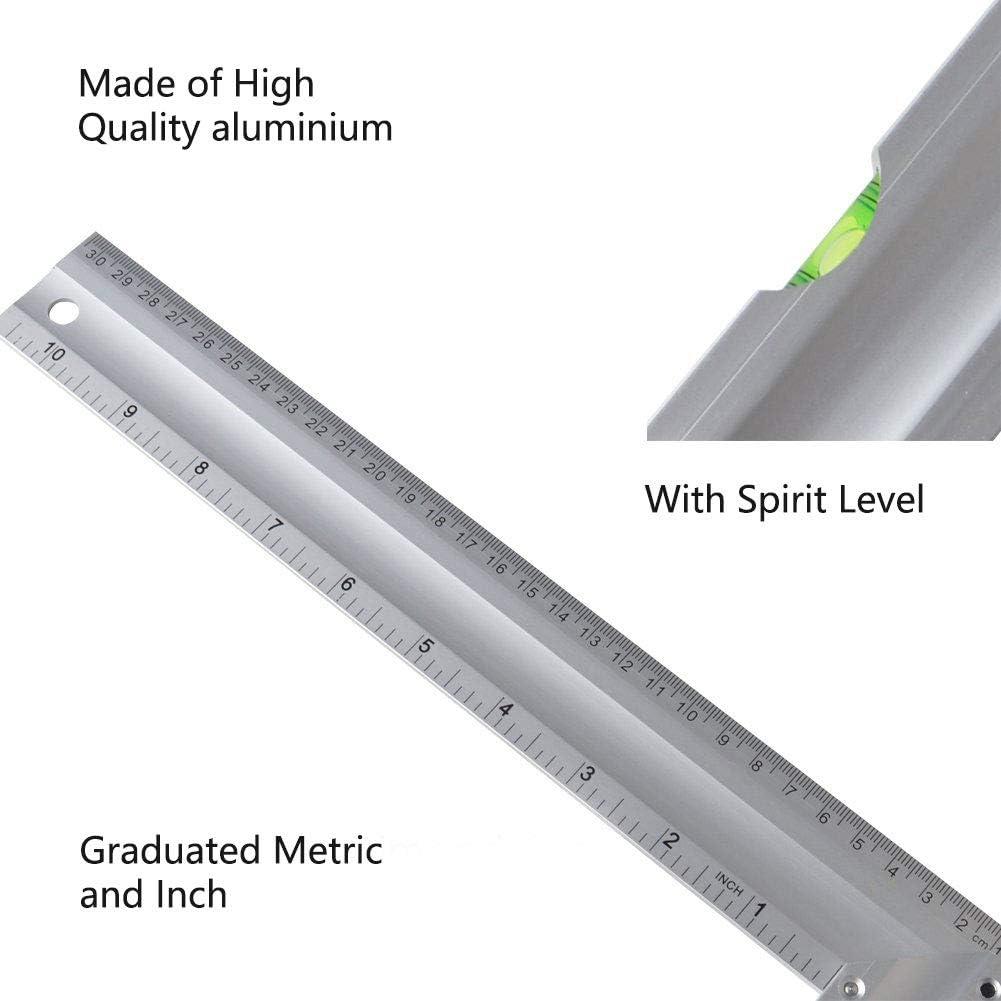 Gunpla Aluminum Try /& Mitre Square with Spirit Level Framing Carpenter Engineer Combination Square 300mm//12 inch