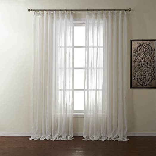 PASSENGER PIGEON Striped Solid White Sheer Curtains Double Pleated Top Window Treatments Draperies Panel