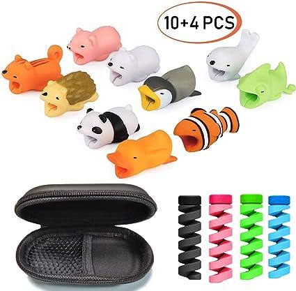 Imagen deSuprcrne 10 PCS Cable Bite Protector de Cable con 4 PCS Protectores de Alambre, Previene la Rotura del Cable Wrap para Auriculares, Teléfono Móvil, Adaptador, Cable USB