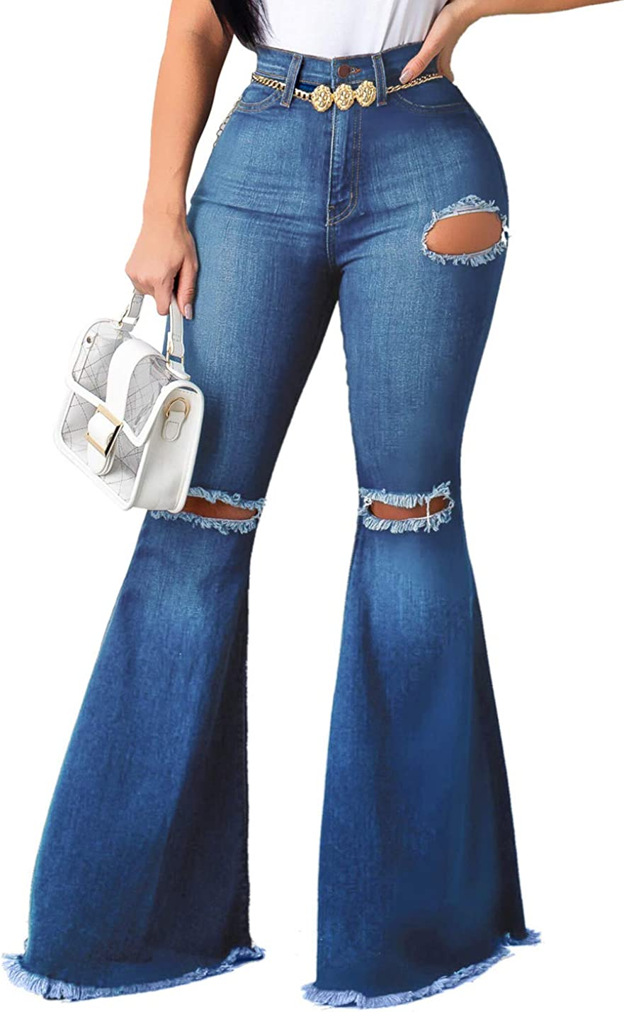 Naliha Pantalones Vaqueros Para Mujer Corte De Bota Con