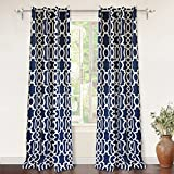 DriftAway Abigail Trellis Room Darkening/Thermal Insulated Grommet Unlined Window Curtains, Set of Two Panels, Each 52″x96″ (Navy) Review