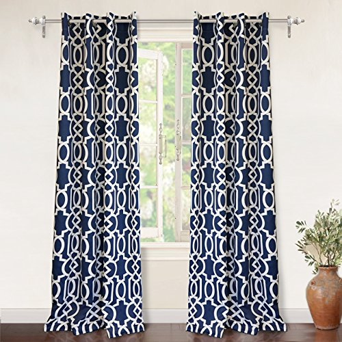 DriftAway Abigail Trellis Room Darkening Grommet Unlined Window Curtains, Set of Two Panels, each 52″x84″ (Navy) For Sale