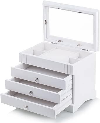 Black White Wooden Jewellery Box Earring Bracelets Organizer 3 Drawers Glass Top MG01