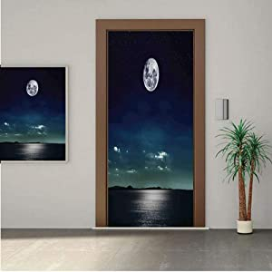 Ylljy00 Ocean Decor Door Wall Mural Wallpaper Stickers,Full Moon Reflected in The Sea Moonlight Surface Starry Sky Night Scenic View 18x80 Vinyl Removable Decals for Home Decoration