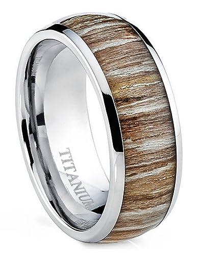 titanium ring for men strong hypoallergenic metal zebra rosewood