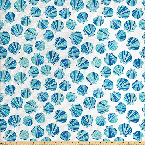 Lunarable Seashells Fabric by The Yard, Scallops with Stripes in Blue Tones Abstract Ocean Life Theme, Decorative Fabric for Upholstery and Home Accents, Aqua Pale Green and Navy Blue