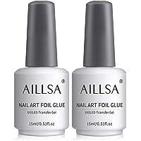 AILLSA nagelfolie lijm, 2 * 15ml Transfer Folie lijm nagelfolie gel nagel lijm nail art voor nagels