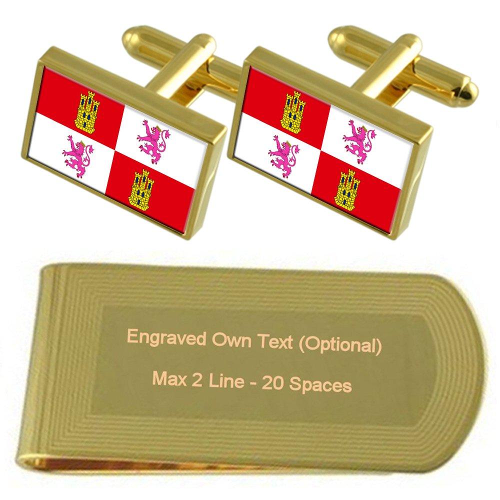 Castilla-Leon Flag Gold-tone Cufflinks Money Clip Engraved Gift Set