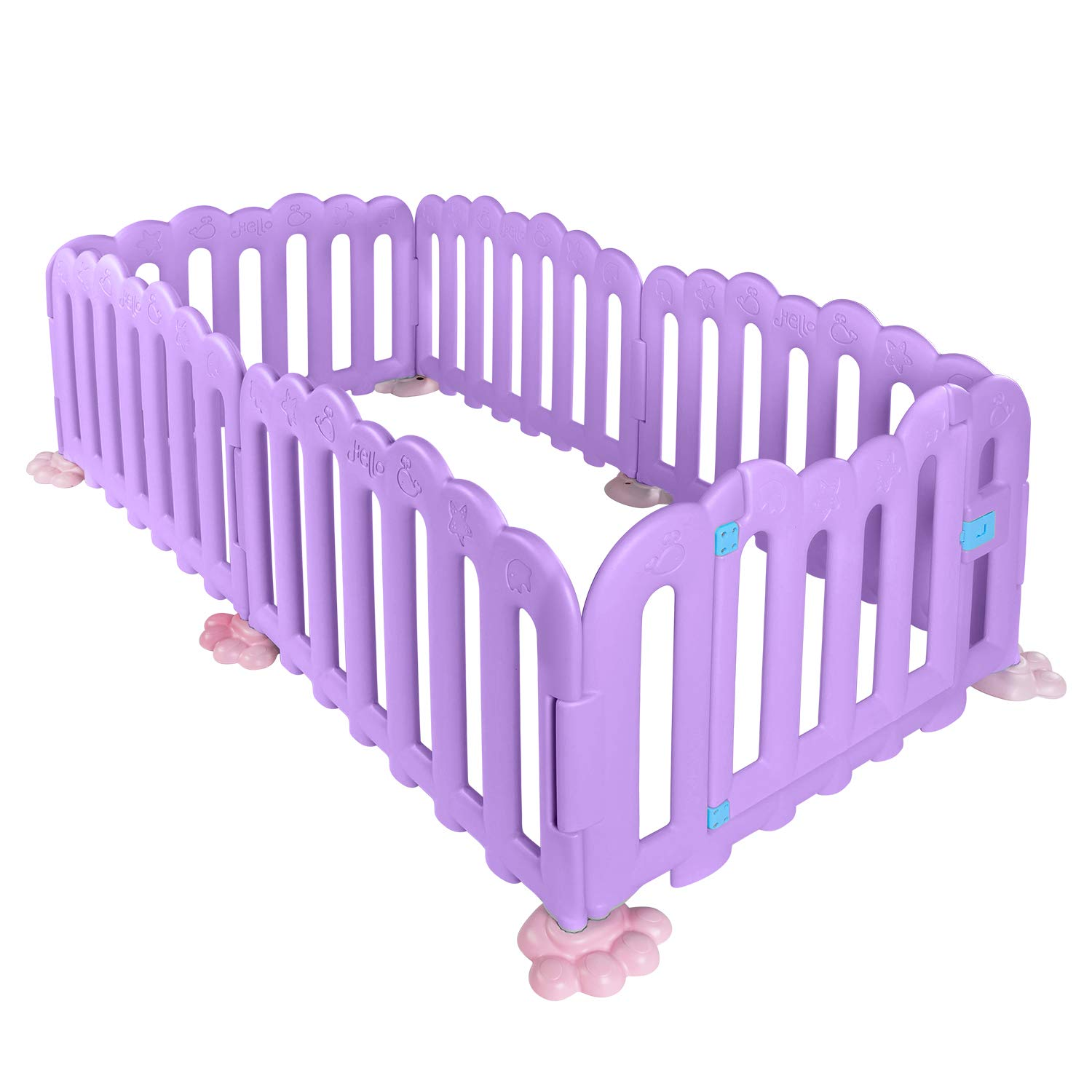 RUUF Baby Playpen, Play Yard with Extra Large Space, Watering Base, Kids Activity Center Indoor or Outdoor, Sturdy and Safe Baby Fence, Certified with ASTM and CPC 6 Panels, Purple