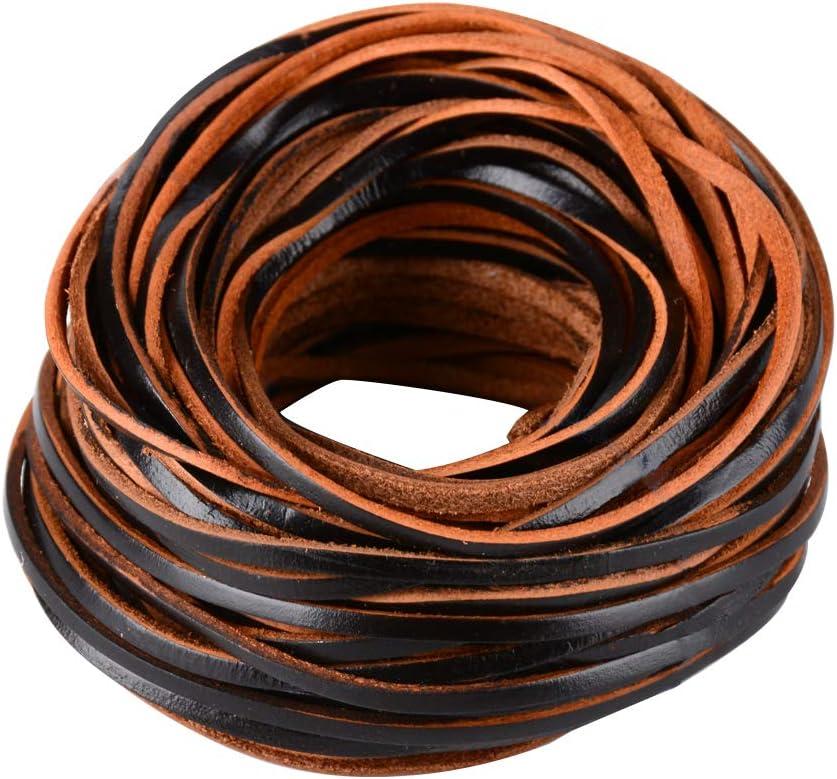 FLOFIA 3mm Cordón de Cuero Plano Banda Cintas de Cuero Leather Cord Tira Cuero 20m para Colgante Pulsera Collar Manualidades Fabricación de Bisutería Artesanía (Marrón Oscuro)