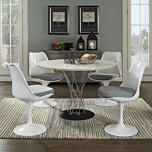 Modway Lippa Modern Dining Four Side Chair Set With Fabric Cushions in Gray by Modway (Image #6)