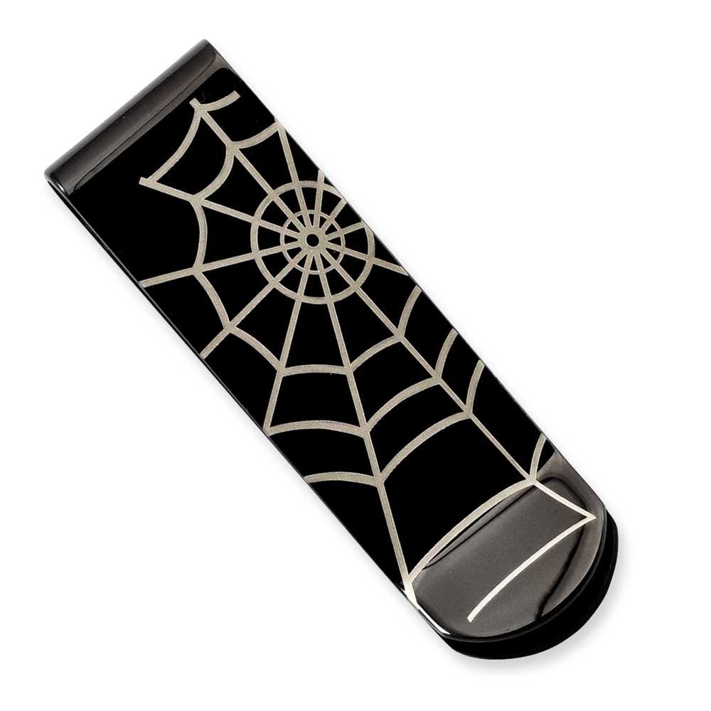 Chisel Stainless Steel Black-plated Spider Web Money Clip SRM145 Marchello And Co