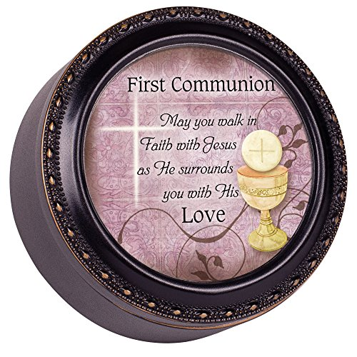 Cottage Garden First Communion May You Walk in Faith Black Rope Trim Petite Round Jewelry and Keepsake Box (Accents Garden Cottage)