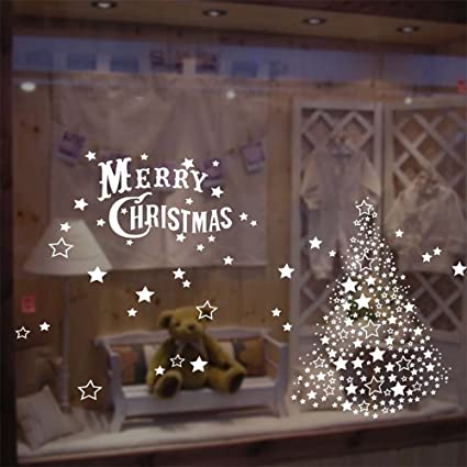 merry christmas decorations white christmas tree window clings decal stickers thanksgiving decorations ornaments party supplies - Amazon White Christmas Decorations