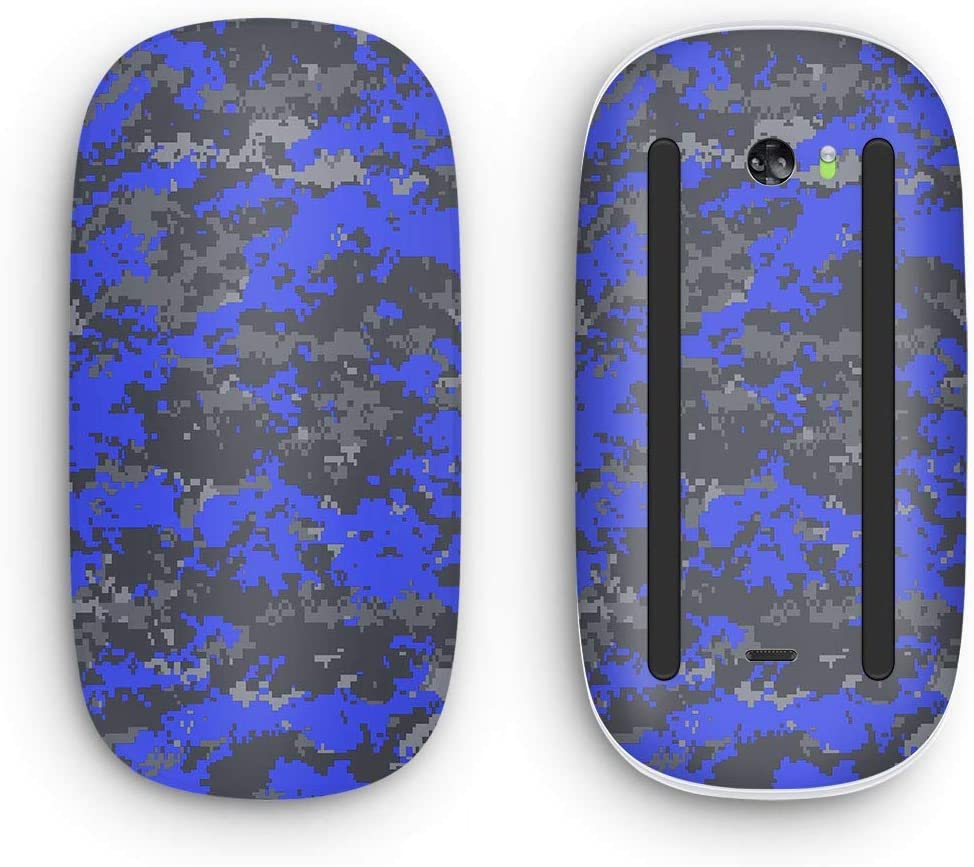 Design Skinz Bright Royal Blue and Gray Digital Camouflage Vinyl Decal Compatible with The Apple Magic Mouse 2 (Wireless, Rechargable) with Multi-Touch Surface