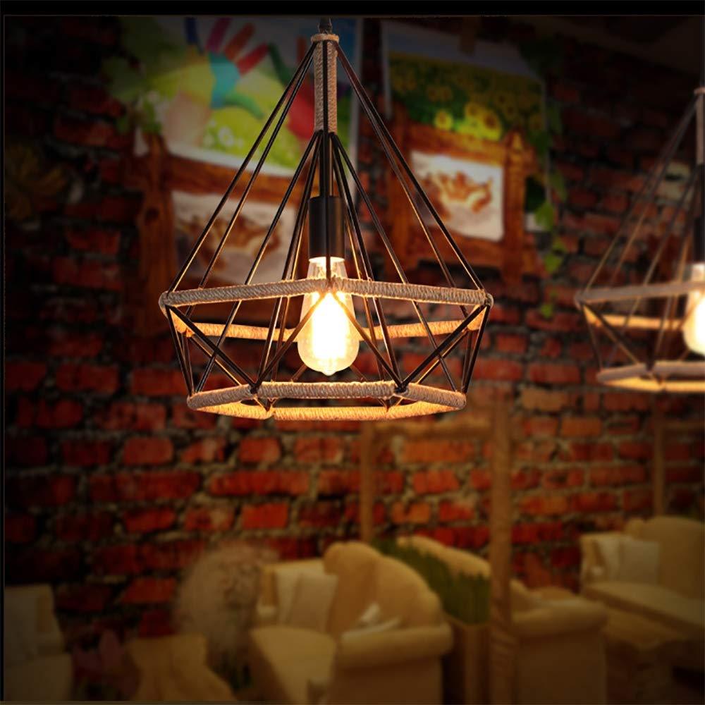Jiafum Retro Wrought Eisen Diamant-Form Kronleuchter, Industrial Creative Hanf Rope Chandelier Bar Restaurant Cafe Decoration Lighting