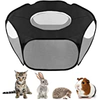 SlowTon Small Animal Playpen, Foldable Pet Cage with Top Cover Anti Escape, Breathable Transparent Indoor/Outdoor Use…